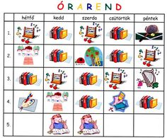 ÓRAREND Nursery Paintings, Class Schedule, School Decorations, Elementary Schools, Children, Kids, Homeschool, Playing Cards, Classroom
