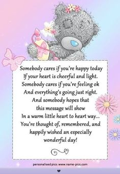 Tatty Teddy ♥ Me to You ♥ Somebody cares. Tatty Teddy, Missing Quotes, Good Day Quotes, Special Friend Quotes, Best Friend Quotes, Friend Poems, Friend Cards, Birthday Quotes, Birthday Wishes