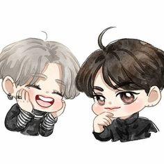 Jackson and Yugyeom💚 Got7 Youngjae, Got7 Fanart, Kpop Fanart, Mark Jackson, Jackson Wang, I Got 7, Mark Tuan, Memes, Chibi