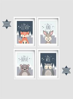 Woodland Nursery wall art Set of 4 animal prints Be brave be kind Kid bedroom art Baby nursery decor Fox Bear Owl print Deer print Kinderzimmer Baby Nursery Decor, Baby Bedroom, Bedroom Art, Nursery Wall Art, Kids Bedroom, Baby Boy Rooms, Kid Wall Art, Fox Nursery, Girl Nursery
