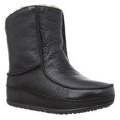 #FitFlop Fitness Stiefel - Mukluk, Damen Lederstiefel mit Lammfell, schwarz.