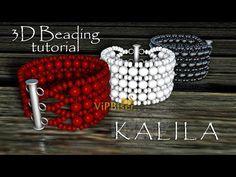 Beaded Bracelet KALILA. 3D Beading Tutorial - YouTube