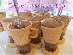 Edible Tea cups for my daughter's tea party!!  This will be fabulous!!  Made using vanilla cookie, mini Reese's cup, waffle or sugar cone and a bow tie pretzel.  :)
