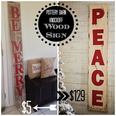 DIY Large Christmas Sign {Pottery Barn Peace' Sign Knockoff} - Cute for the front porch Christmas Signs Wood, Noel Christmas, Simple Christmas, Christmas Projects, Beautiful Christmas, All Things Christmas, Holiday Crafts, Holiday Fun, Christmas Decorations