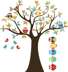 Kids Tree with 4 owls 7 birds and set of 4 FREE by wallinspired, $75.00