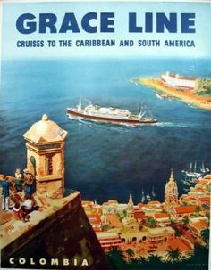 Grace Line - Colombia, painting by Carl G evers