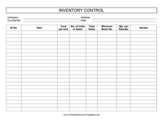 Free Printable Inventory Sheets Here Is A Preview Of The