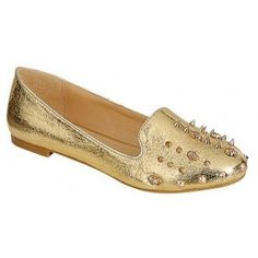 CAROL-03 Women's Glitter Low Heel Loafers - Gold
