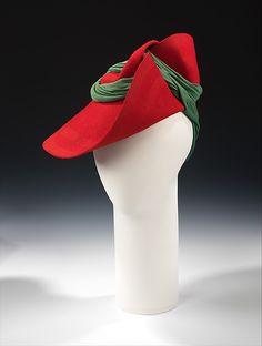 Sally Victor (American, 1905–1977). Hat, 1936. American. The Metropolitan Museum of Art, New York. Brooklyn Museum Costume Collection at The Metropolitan Museum of Art, Gift of the Brooklyn Museum, 2009; Gift of Sally Victor, Inc., 1944 (2009.300.1117)