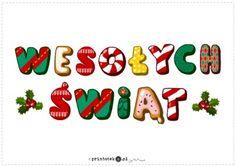 Wesołych Świąt - duży napis - Printoteka.pl Christmas Themes, Pixie, Diy And Crafts, Preschool, Merry, Clip Art, Classroom, Scrapbook, Education