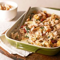 Your next potluck will go wild for our Chicken Florentine Artichoke Bake! More casserole recipes here: http://www.bhg.com/recipes/pasta/baked-pasta/?socsrc=bhgpin061314chickenflorentineartichokebakepage=11