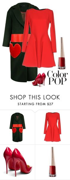 """""""Color Pop"""" by kotnourka ❤ liked on Polyvore featuring Miu Miu, Christian Louboutin and statementcoats"""