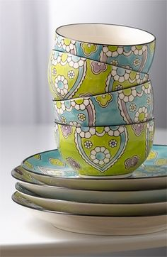 Vagabond Vintage 'Lotus' Bowls. I like the chartreuse shade. Sort of contemporary country.