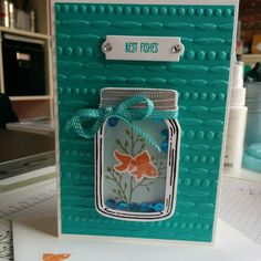 Now that it has (hopefully?!) arrived, I can show off this little card I made for my lovely friends' birthday #stampinupuk #stampinup #jaroflove #bestfishes