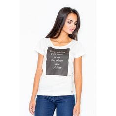 White Cotton Top With An Imprint LAVELIQ Cotton short sleeve top with a boat neck and a decorative imprint. It‰۪s a perfect match for classic trousers. Cotton Shorts, Perfect Match, White Cotton, V Neck, T Shirts For Women, Tops, Products, Fashion, Self