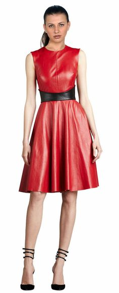 9c7a7bbcbb2 Womens Red Leather Dress Genuine Lambskin Evening Cocktail Ladies Dress -  072  dress  clothes