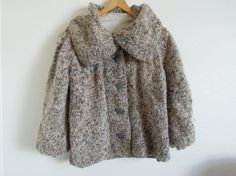 Vtg French Chunky Tweed Mohair Sweater Jacket