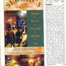 Sergio's   The Friendly Italian Restaurant in the Heart of Bristol, UK