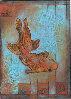 Items similar to Golden Fantail, goldfish print on Etsy Awesome Art, Cool Art, Fantail Goldfish, Beautiful Fish, Animal Paintings, Vintage Beauty, Creative Art, Art Quotes, Art Ideas