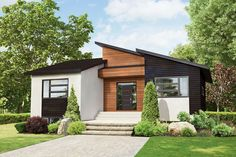 Contrasting, natural colors and multiple, modern exterior materials lie beneath a skillion roof on this 2-bedroom ranch house plan.A coat closet sits just within the front entry, which leads directly into the heart of the home. Large windows allow natural light to permeate throughout the shared living spaces.The kitchen provides ample workspace with a large island in the center, adjacent from the dining room. Sliding doors invite you to enjoy the outdoors on the back, covered porch.Two…
