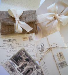#γαμος προσκλητηρια vintage card postal, φακελος λινατσας και πουγκι λινό, gamos prosklitiriio vintage card postal, fakelos linatsas & pougi lino