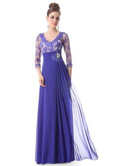 V-Neck Floor Length Purple Empire Sheath/Column Evening Dress