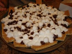 S'mores Nachos.. @Hannah VanBrunt we need to do this! Gluten Free graham crackers?