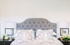 Love the tufted headboard + shams