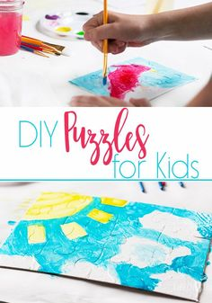 These DIY Puzzles for kids are so much fun! An easy kid's craft that your children will love and enjoy for a long time! Or just cut card stock and use a painting or drawing of the child's. Fun Activities To Do, Preschool Learning Activities, Indoor Activities For Kids, Preschool Curriculum, Homeschool, Kindergarten Learning, Group Activities, Easy Crafts For Kids, Diy For Kids