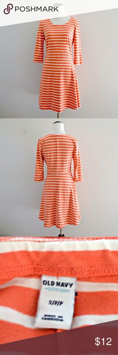 """Old Navy Striped Dress Pink and white striped dress with ¾ length sleeves from Old Navy. Stretchy material. Has some minor pilling, but still in great condition!    Measurements   Size: Small Length: 33"""" Bust: 32"""" Waist: 27"""" Sleeve Length: 15""""    Materials   93% cotton, 7% spandex. Machine washable! Old Navy Dresses"""