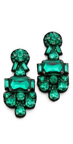 Beautiful #Emerlad Deepa Gurnani Crystal Cluster Earrings