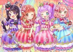 Pripara Saints and Lala!  The Saints are each from a pretty rhythm series. Mia(Dear my Future:2nd),Aira(Aurora Dream:1st),Lala,Naru(Rainbow Live:3rd)