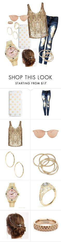 """""""Flashy"""" by ericjen8685 ❤ liked on Polyvore featuring Kate Spade, ZoÃ« Jordan, Linda Farrow, GUESS by Marciano, ABS by Allen Schwartz, Rolex and Vitaly"""