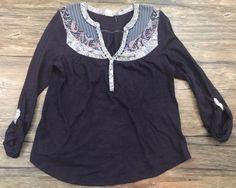 Akemi + Kin Anthropologie Shirt Paisley Purple Quarter Sleeve Womens Sz M* | eBay