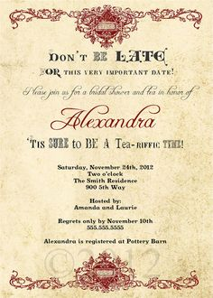 Rustic Bridal Shower Invitation Vintage Alice in by LillyMillie, $15.00