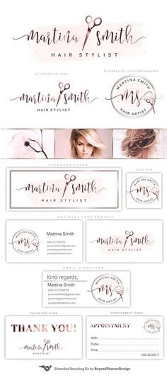 Hair stylist rosegold logo Rose gold Scissors logo