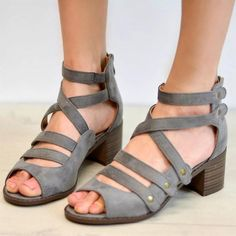 Multi-Strap Heeled Sandals Peep Toe Woman Shoes Comfortable Strappy PU Leather Cute High Heels Thick Rivet Solid Gladiator Plus Size Source by aitziklevy comfortable Ankle Strap Heels, Ankle Straps, Shoes Heels, Pink Shoes, Wedge Shoes, Thick Heels, Chunky Heels, Clarks, Cute High Heels