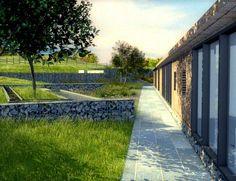 Gabion walls in a natural setting...Lovely.  Nicholas Dexter designer.