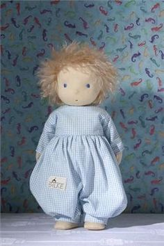 Silke Dolls Waldorf Rag Doll Laura in blue gingham - Only £93.91 - Ptolemy Toys