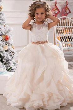 Lovely Long First Communion Dresses for Girls Wedding Party Gown Ruffle Girl Birthday Party Dress Flower Girl Dresses