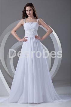 Robe de mariée blanche élégante avec bretelles dos zippé traîne palais 2014