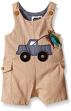 Mud Pie Baby Boy One Piece Romper: Faux-linen short all with cargo pockets and chambray lining features chambray and felt truck and fish applique, functional buttons at shoulders and inner leg snap closure. Little Boy Outfits, Toddler Boy Outfits, Baby Boy Outfits, Kids Outfits, Baby Dress Patterns, Baby Clothes Patterns, Baby Boy Fashion, Kids Fashion, Couture Bb