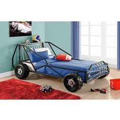 Deluxe Twin Racer Car Bed, Silver/Black - how cool is this!!  tad pricey but different