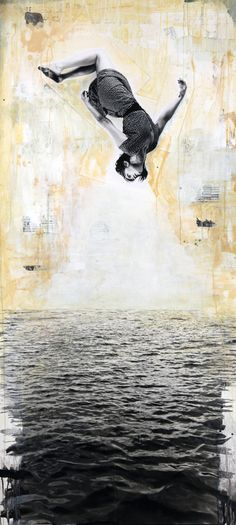 """You Are Not Falling, You Are Floating"" by David Hochbaum - http://www.unequalledmagazine.com/archive/culture/31362/corey-helford-gallery-david-hochbaum-opening-reception/"