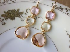 Champagne Peach Pink Citrine Earrings Gold Blush - Bridesmaid Earrings - Wedding Earrings - Wedding Jewelry
