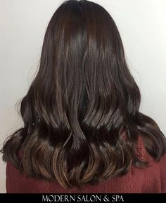 Brown hair color by Fatimah Harrell at Modern Salon & Spa in Charlotte, NC.