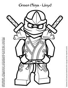 Ninjago Green Ninja Lloyd In Kimono Costume Coloring Page