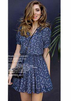Blue Floral Buttons Short Sleeve Dress LOVE LOVE LOVE THIS DRESS