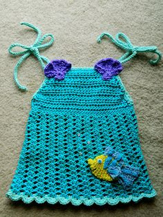 I have been very busy with custom Disney inspired designs recently. Today I finished a Little Mermaid inspired halter top for a very spec. Moda Crochet, Crochet Bebe, Crochet Cross, Knit Or Crochet, Crochet Things, Free Crochet, Crochet Toddler, Baby Girl Crochet, Crochet Baby Clothes