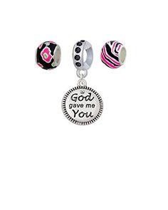 God Gave Me You - Hot Pink Animal Prints Charm Beads (Set of 3) * Click image for more details.